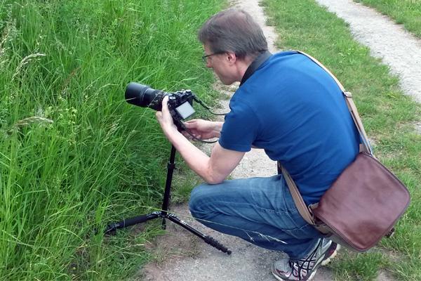Fotograf beim Focus Stacking Wildlife